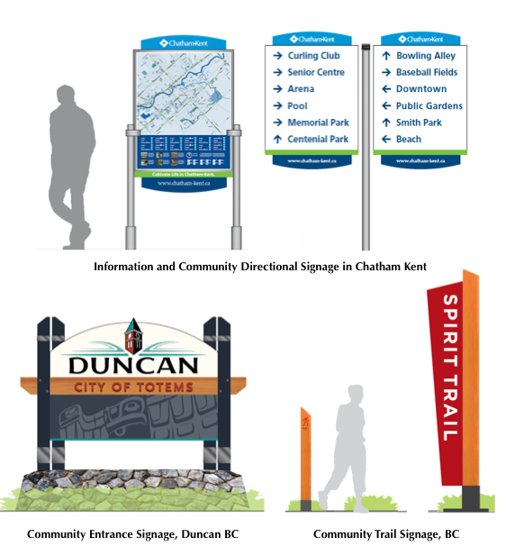 Examples of directional and community signage that Timmins can have